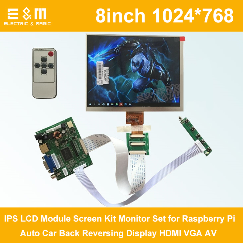 E&M 8 Inch 1024*768 IPS LCD Module Screen Kit Monitor Set For Raspberry Pi Auto Car Back Reversing Display HDMI VGA AV