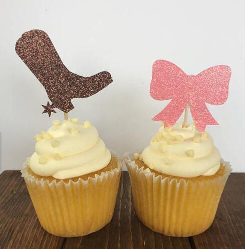 Glitter Boots Or Bows Gender Reveal Cupcake Toppers Birthday Baby