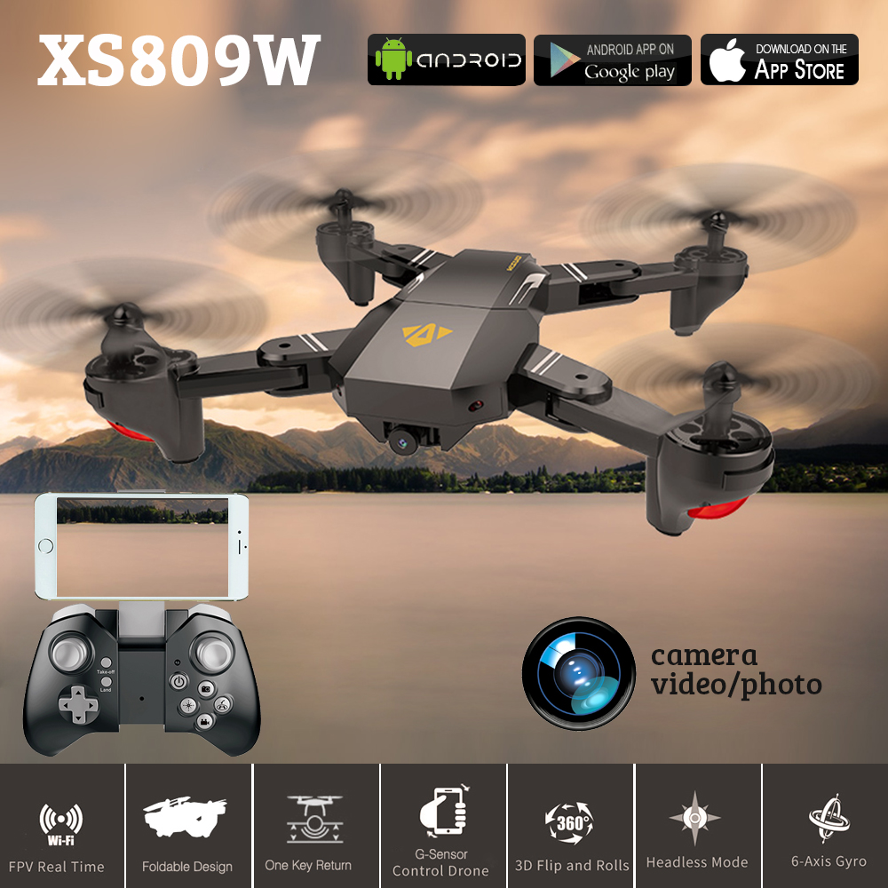 Newest VISUO XS809W XS809HW Foldable RC Drone With WIFI Camera 2.4G 4CH 6 Axis Headless Mode Altitude Hold RC Quadcopter VS H37 jjrc h39wh h39 foldable rc quadcopter with 720p wifi hd camera altitude hold headless mode 3d flip app control rc drone