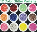 Professional 12 Color BIG GLITTER KIT UV GEL Builder NAIL ART Set Tips Kit Polish Acrylic
