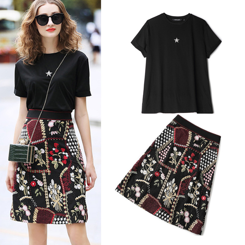 High Quality New Women's Diamond Beadings Star Tees Tops Blouses Ladies And Black Luxury Floral Embroidery Skirt Suit Set NS996