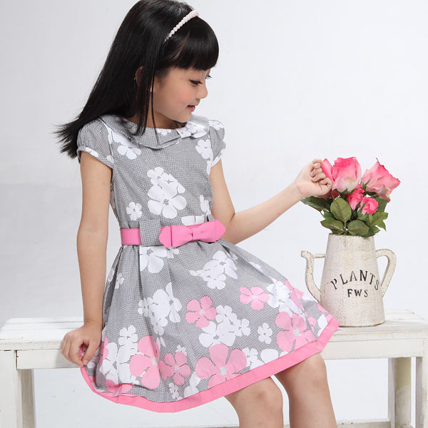 3aad2c84f62269 5~13 years old flowers printing design for girls dress