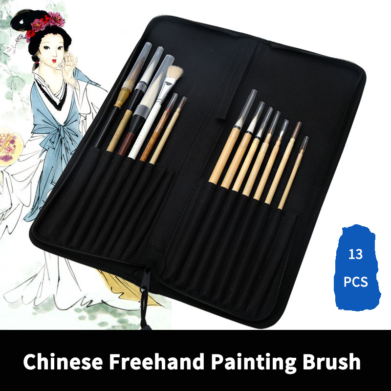 BGLN 13Pcs Chinese Freehand Painting Brush With Bag Calligraphy Pen Brush Weasel Hair Brush Artist Drawing