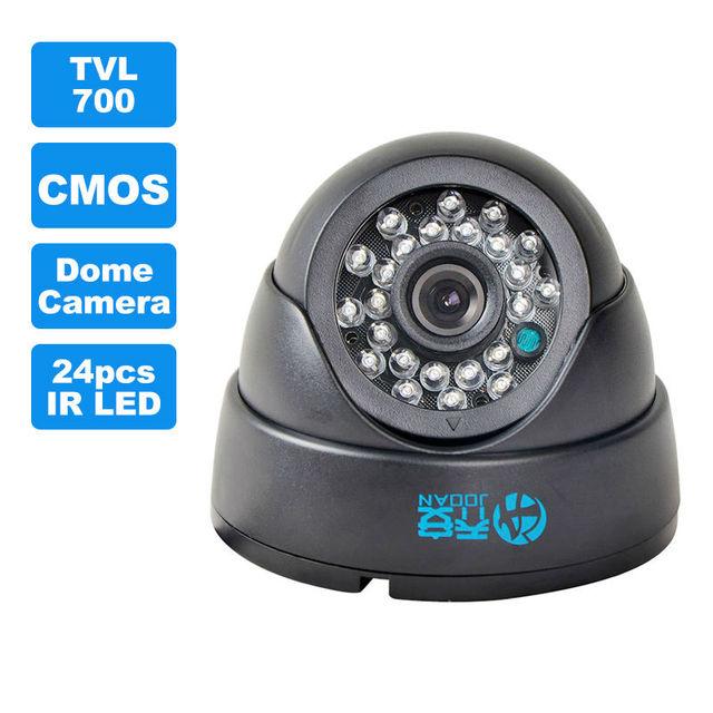 JOOAN 1/3 color CMOS 700TVL MINI Domo CCTV Cámara, HD Cubierta Negro 24 Leds IR Día/noche de Seguridad Home Video Vigilancia Cámara