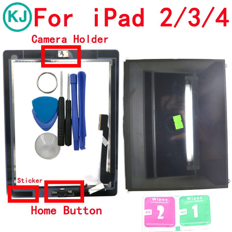 LCD Touch Panel For IPad 2 / 3 / 4 Display Touch Screen Digitizer Front Glass with Home Button Sticker Adhesive Camera Holder netcosy touch screen digitizer front touch panel glass for ipad 2 3 4 touchscreen replacement spare part tp repair tools glue