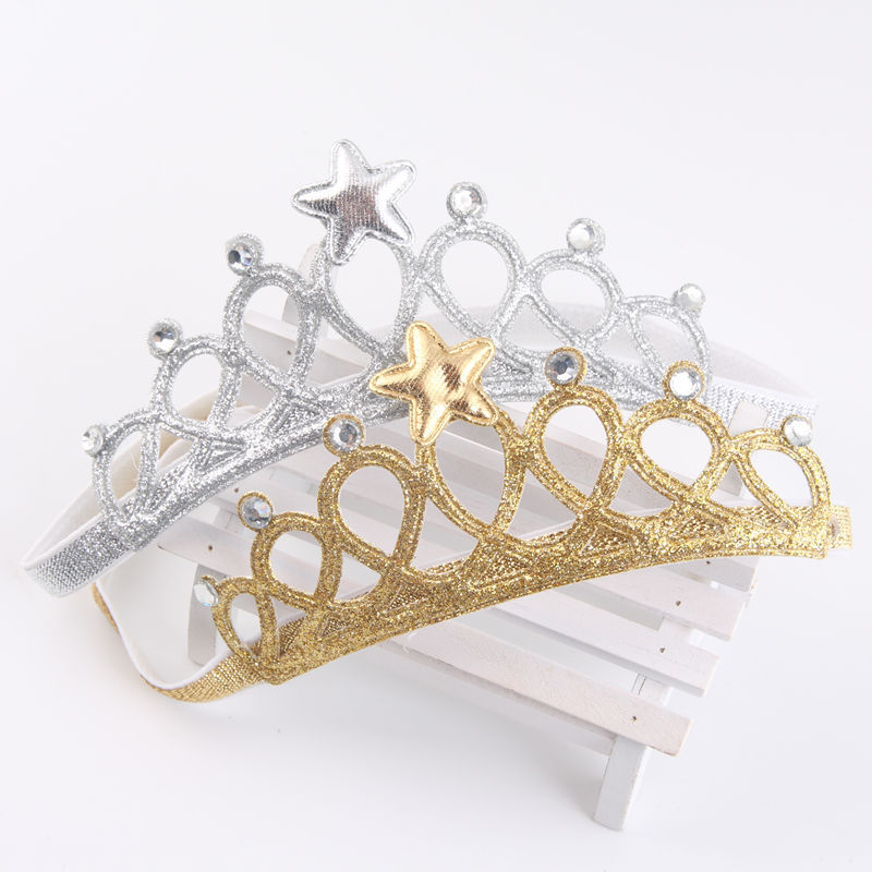 1pc Baby Kids Girls Crown Princess Headband Accessories Gold Silver Baby Girl HairBands Bow Crown Headwear sequin bow minnie mouse ears headband for kids shiny glitter hair bow hairbands girls photography props hair accessories