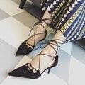 Новый Корейский летом замши указал тонкие высокие каблуки мелкой рот насосы крест ремешок лодыжки wrap сандалии женщин элегантный черный красный насосы