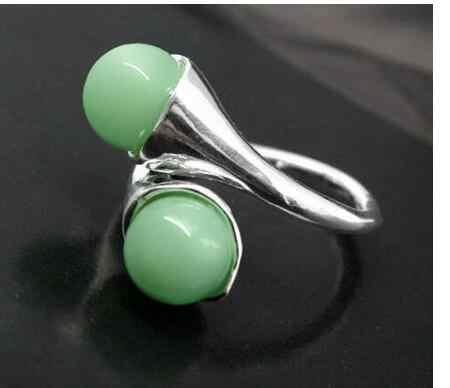 ขายส่งเครื่องประดับ Ringe หินสีเขียว JADES ลูกปัดรอบอัญมณี 925 แหวนเงินแท้ขนาด 6 7 8,9, # แหวน