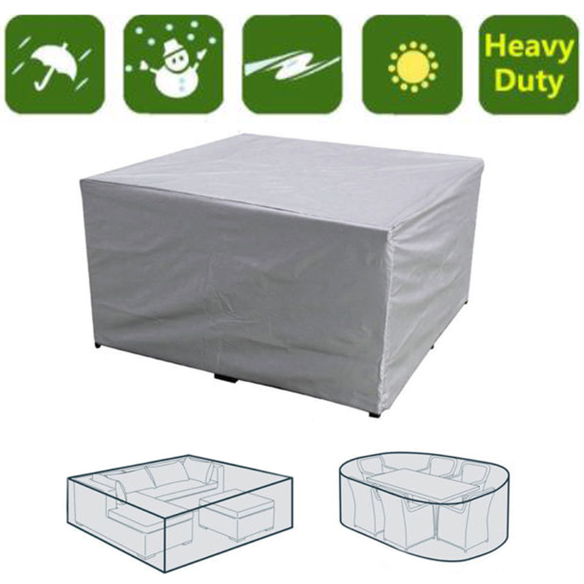 7 Sizes Waterproof Furniture Cover Outdoor Cover Sofa Chair Table Cover Garden Patio Beach Protector Rain Snow Dustproof
