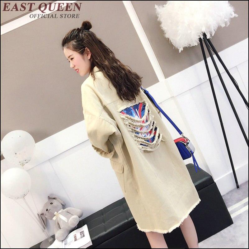 Chemisier féminin vêtements d'extérieur & manteaux design moderne longue déchiré vêtements d'adolescent détruits streetwear punk harajuku blouse AA3483 a
