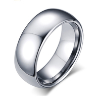 High Quality 8mm Silver Comfort Fit Classic Dome Men Ring Tungsten Rings For Men Wedding Bands