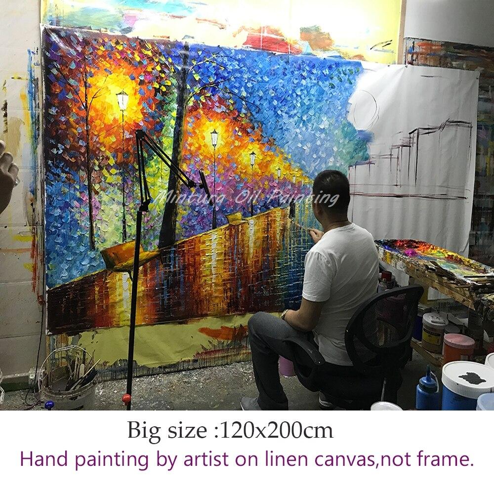 Grand peint à la main amant pluie rue arbre lampe couteau paysage peinture à l'huile sur toile Art mural pour salon décor à la maison photo