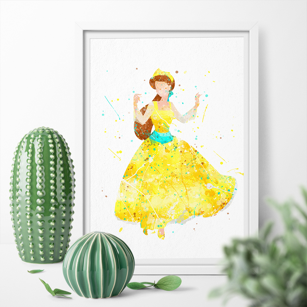Watercolor Cartoon Anastasia Princess Cute Girl Wall Art Art Canvas ...