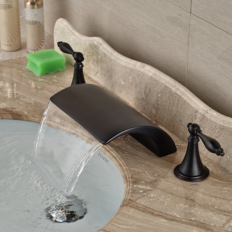 Classic Double Handles Waterfall Spout Bath Basin Sink