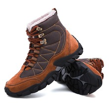 Mens hiking shoes mens outdoor travel walking plus velvet warm sports