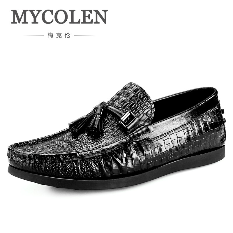 MYCOLEN New Design Top Real Crocodile Leather Mens Formal Business Shoe Men Dress Breathable Shoes Sapato Masculino Couro eioupi top quality new design genuine real leather mens fashion business casual shoe breathable men shoes lh1288