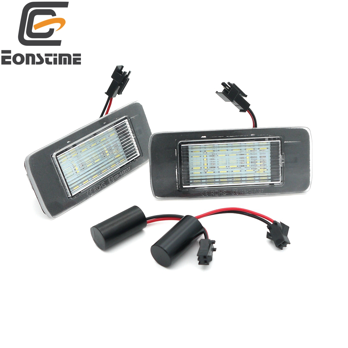 Eonstime Canbus 2pcs 18SMD LED Number License Plate Light Bulbs for Opel Vauxhall Astra J Sports Tourer Zafira Tourer C 09-15 2pcs 18smd no error led number license plate light lamp oem direct fit for chevrolet cruze all cars 2009 canbus with decoder