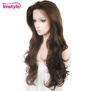 Image 3 - Imstyle כהה חום תחרה מול פאות סינטטי שיער פאה ארוך גלי פאות עבור נשים חום סיבים עמידים Glueless שיער 26 סנטימטרים