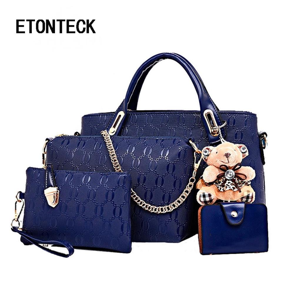 Etonteck Women Bag Top-handle Bags Female Famous Brand Women Girls Messenger Bags Handbag 4 Set Pu Leather Composite Bag