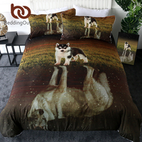 BeddingOutlet Husky Bedding Set Wolf Reflection Duvet Cover With Pillowcases 3D Print Bed Set Puppy Dog Grassland Home Textiles