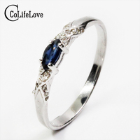 Hotsale Natural Sapphire Ring 3 6mm Natural Sapphire Gemstone Silver Ring Solid 925 Silver Sapphire Ring