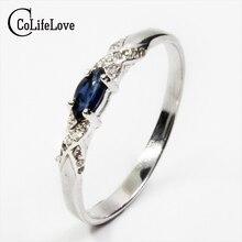 Кольцо натуральный сапфир кольцо 3*6 мм натуральный сапфир драгоценный камень серебряное кольцо одноцветное Серебро 925 сапфир кольцо от китайского Сапфир м