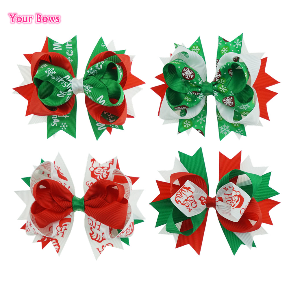 Your Bows 1PC 4.5 Inch Christmas Bows Grosgrain Ribbon Hair Bows Fastion Hairpins Girls Headwear Children Bows Hair Accessories