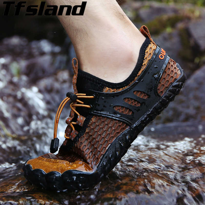 Tfsland Water Shoes Men Flat Slippers New Breathable Aqua Shoes Hole Mesh Non-slip Wading Hiking Shoes Sneakers Men Beach Shoes