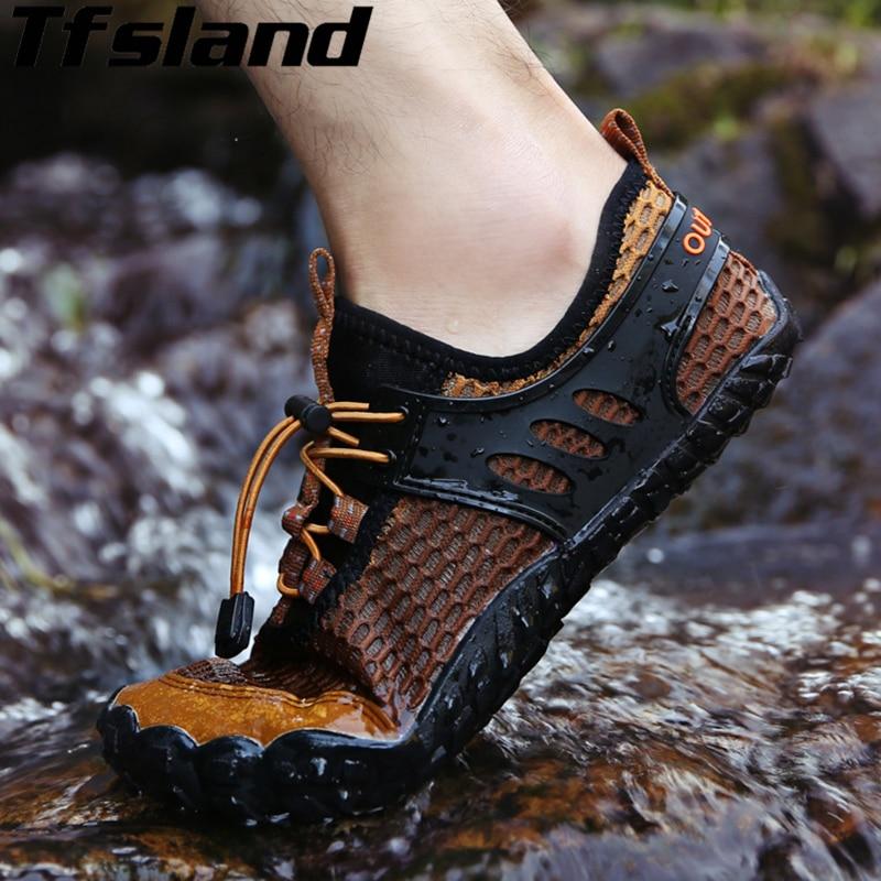 Tfsland vízcipő férfiak lapos papucs új lélegző Aqua cipő lyukháló csúszásmentes kopás túracipők cipők férfi strand cipő