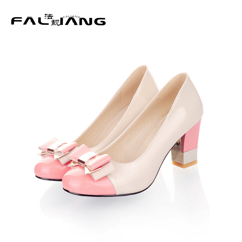 Spring Autumn Sweet Butterfly knot New Big Size 11 12 women shoes woman High Square heel ladies womens Casual Single shoes new flock high big size 11 12 women shoes wedges pointed toe woman ladies butterfly knot casual spring autumn sweet single shoes