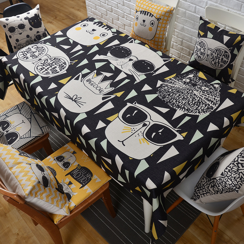 Honlaker Cartoon Cool Cat Cotton Linen Table Cloth Rectangular Thick Circular  Tablecloth In Tablecloths From Home U0026 Garden On Aliexpress.com | Alibaba  Group