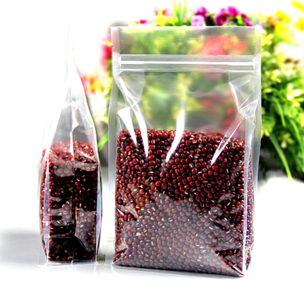 Stand Up sac 10x20 + 5 cm Transparent Doypack paquet sac nourriture sèche fleur fruits sac de rangement refermable clair sacs à fermeture éclair en gros