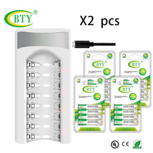 BTY зарядное устройство* 2 шт интеллектуальная 8 слоты USB вход для AA/AAA NiCd NiMh аккумуляторная батарея+ 32 шт батареи