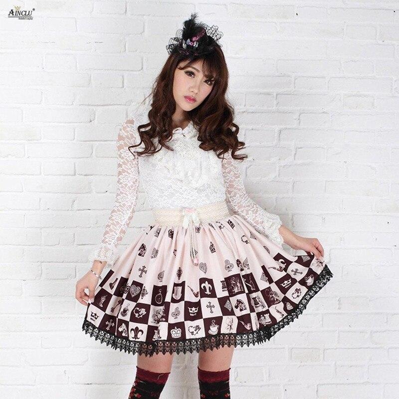 2018 Ainclu brun Polyester dentelle couronne imprimé doux bouffée Lolita jupes Cospaly robes Vintage XS-XXL