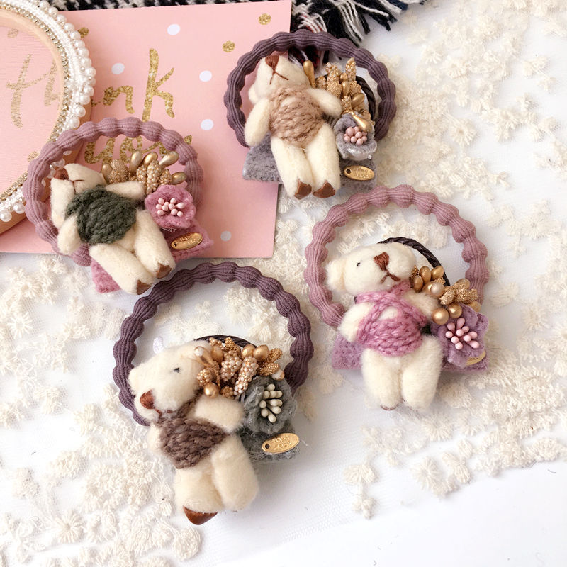 Lovely girls hair accessories cartoon bear elastic hair bands rubber band flowers hair rope gum for kids headband hairband tiara hot sale hair accessories headband styling tools acessorios hair band hair ring wholesale hair rope