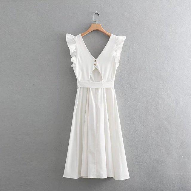 5f21f0f1cdf elegant ruffless white linen dress women sleeveless backless bow midi dress  Summer pocket Casual dress 2018 korean beach vestido - Sabaya Club