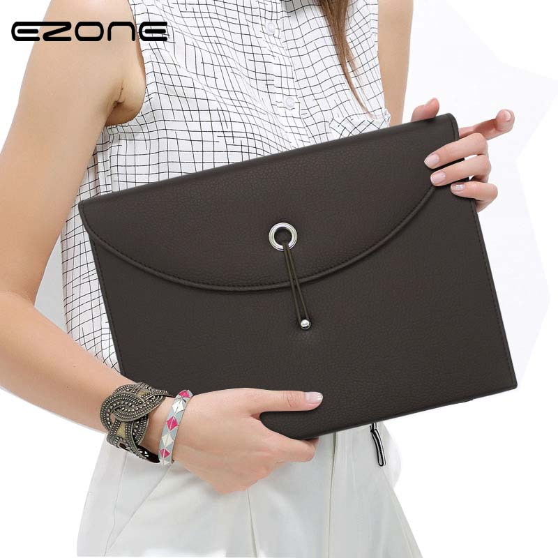 EZONE 1PC A4 Business Handbag Mens Ladys Fashion Leather Tote Bag Male Documents File Packet Folder Messenger Bags 13 Layers