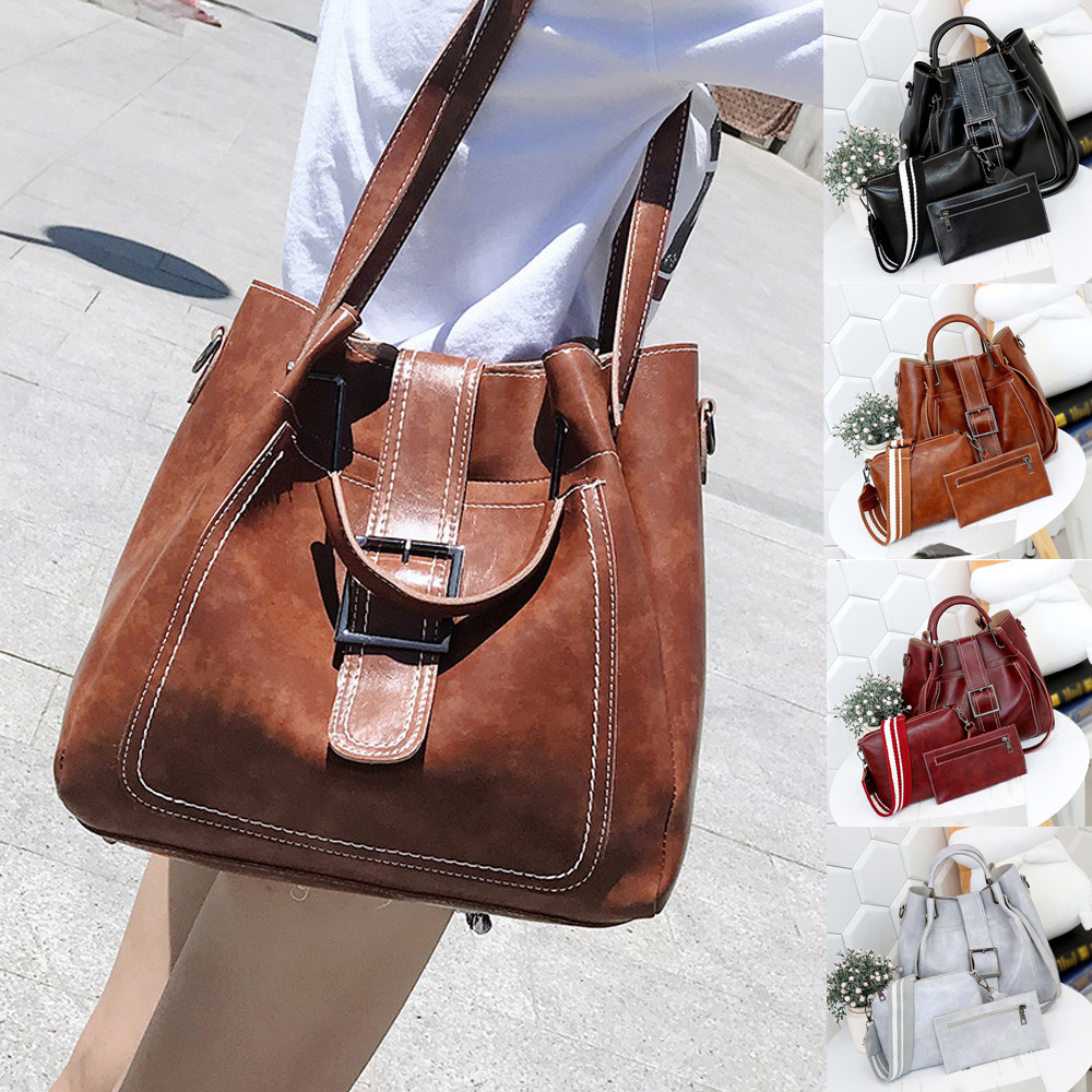 2018 Hot Sale Messenger Bags 3Pcs Retro Womens Pure Color Leather Shoulder Bags Handbag+Crossbody Bag+Wallet bolsos mujer S