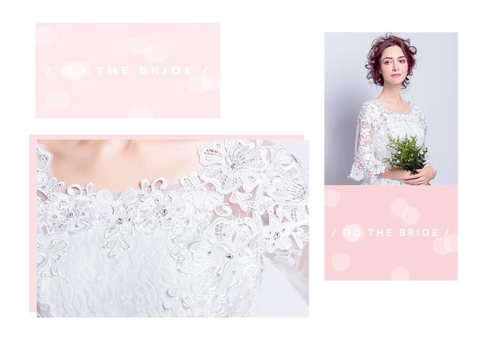 Angel Wedding Dress Marriage Bride Bridal Gown Vestido De Noiva 2017 Boat Neck horn sleeve, big tail 6910 3