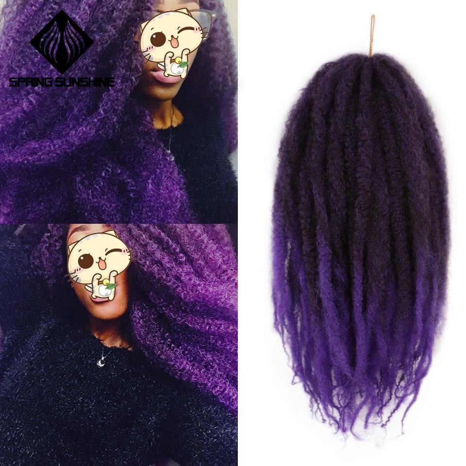 Весна Солнечный свет мягкий афро кудрявый Омбре фиолетовый марли плетение волос 18 дюймов Синтетические крючком косички волосы