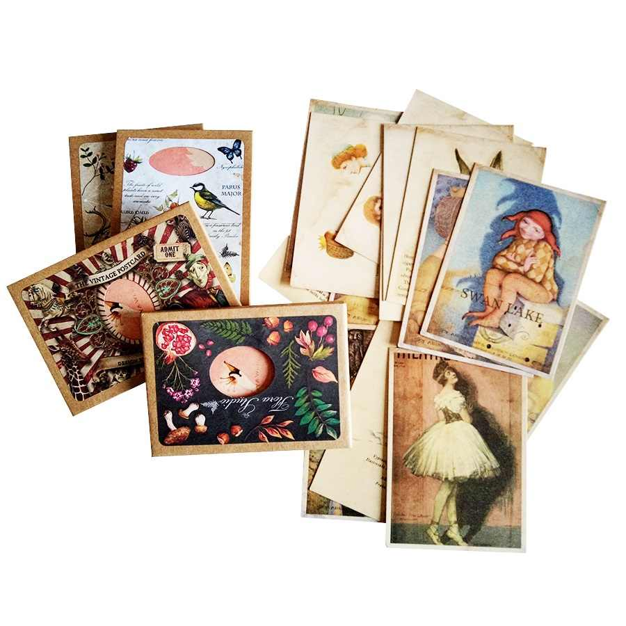 16 Pcs/lot Chic business cards Postcards Greeting Cards For Swan Lake Background Cards Lovely Picture Party Gift