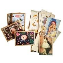 Tarjetas de negocios elegantes, postales de felicitación para el lago del cisne, fondo, imagen preciosa, regalo de fiesta, 16 unids/lote