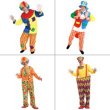 Free Shipping Halloween Costumes Adult Funny Circus Clown Costume Naughty Harlequin Uniform Fancy Cosplay Clothing for Men Women