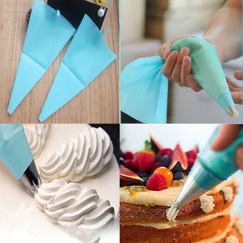 3 Sizes Silicone Reusable Icing Piping Cream Pastry Bag Cake DIY Decorating Tool