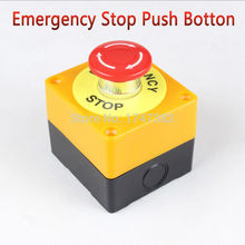 1 PC Plastic Shell Red Sign Push Button Switch DPST Mushroom Emergency Stop Button AC 660V 10A NO+NC LAY37-11ZS Free Shipping