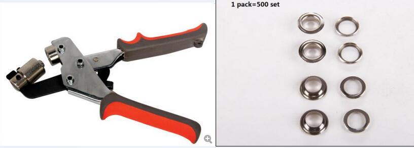 Portable Manual Eyelet Puncher 4 Silver Gold Iron Eyelet 500set Hand Press Puncher Grommet Punching Tool