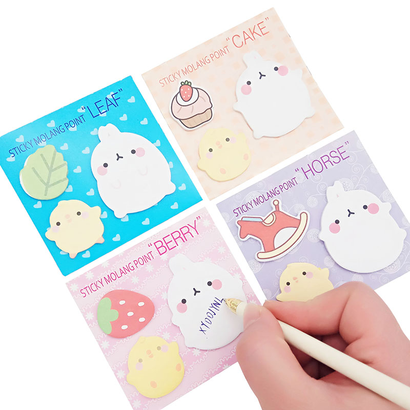 4 Pc Cute Planner Korean Rabbit Animal Sticky Notes Kawaii Post Memo Pad Self-adhesive Sticker Office Supplies Material Escolar
