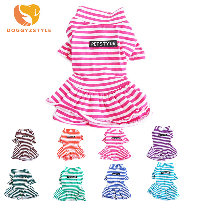 Dog Dress Stripe Dog Skirt For Small Medium Puppy Jumpsuit Dress Aumumn Summer Clothes Various Colors Available