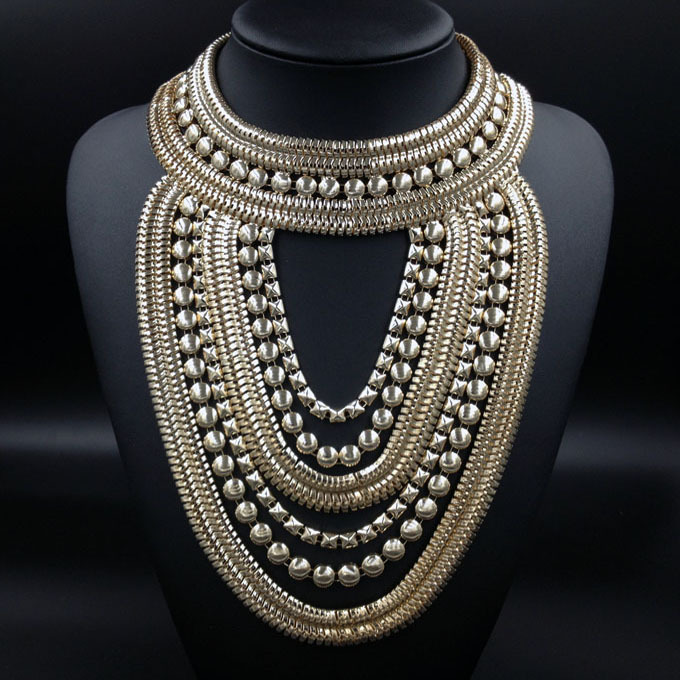 New design women fashion maxi metal chunky multi golden silver
