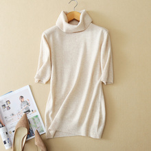Summer and autumn new ladies cashmere sweater turtleneck sweater short-sleeved s